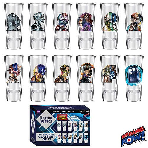 Doctor Who 50th Anniversary 2 oz. Glass Set of 12 - Convention Exclusive