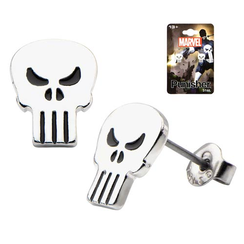 Punisher Skull Stainless Steel Stud Earrings