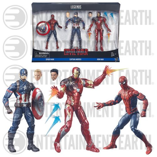 Captain America Civil War Marvel Legends Spider-Man, Captain America, and Iron Man Action Figure 3-Pack