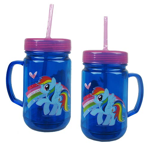 My Little Pony Friendship is Magic Rainbow Dash 24 oz. Plastic Mason Jar