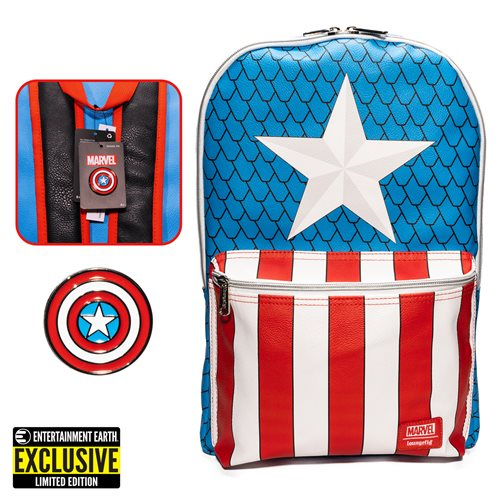 Captain America Cosplay Backpack with Pin Set - EE Exclusive