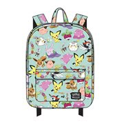 Pokemon Cute Print Aqua Nylon Backpack