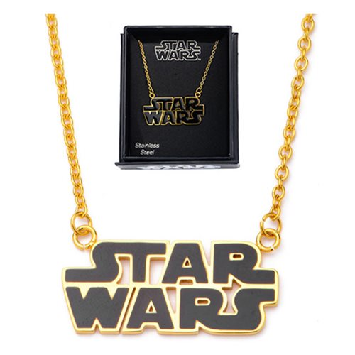 Star Wars Logo Stainless Steel Gold Plated Pendant Necklace