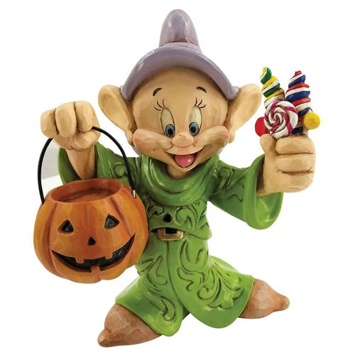 Disney Traditions Snow White and the Seven Dwarfs Dopey Halloween with Pumpkin Cheerful Candy Collector Jim Shore Statue