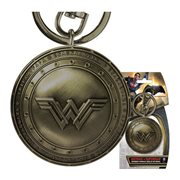 Batman v Superman Wonder Woman Shield Brass Finish Pewter Key Chain