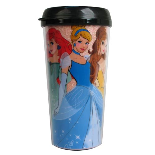 Disney Princesses Glitter 16 oz. Plastic Travel Mug