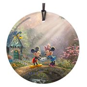 Mickey Mouse and Minnie Mouse Sweetheart Bridge Thomas Kinkade StarFire Prints Hanging Glass Ornament