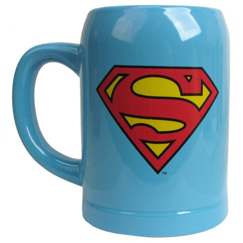 Superman Logo Blue Ceramic Stein