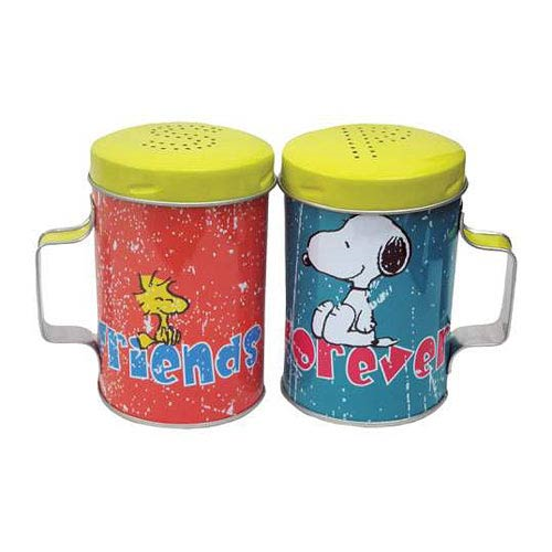 Peanuts Snoopy and Woodstock Friends Forever Tin Salt and Pepper Shakers