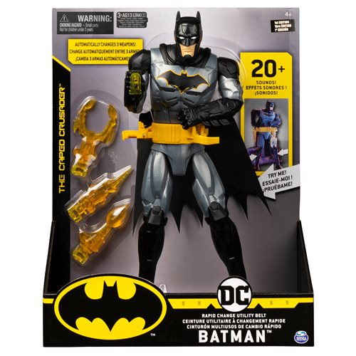 Batman Deluxe 12-Inch Action Figure with Rapid-Change Utility Belt, Lights, and Sounds
