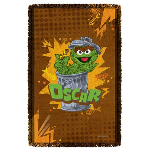 Sesame Street Oscar Woven Tapestry Throw Blanket