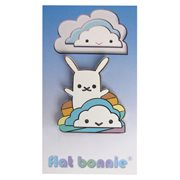Flat Bonnie Rainbow Cloud with Bunny Enamel Pin