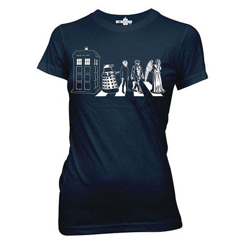 Doctor Who Detailed Street Crossing Blue Juniors T-Shirt