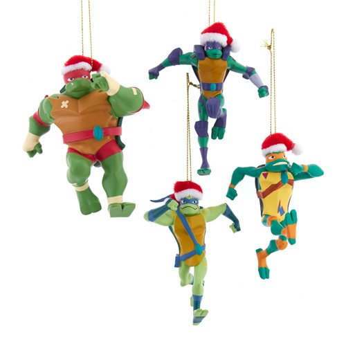 Ninja Turtles with Santa Hat Ornament 4-Pack Set