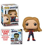 Avengers: Endgame Captain Marvel Pop! Vinyl Figure with Collector Cards - Entertainment Earth Exclusive