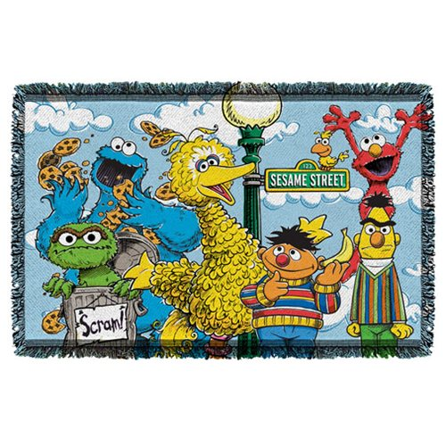 Sesame Street Retro Gang Woven Tapestry Throw Blanket