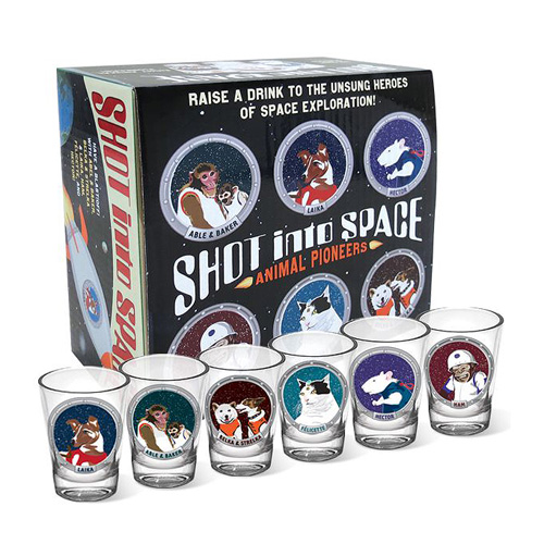 Animals in Space Shot Glasses 6-Pack