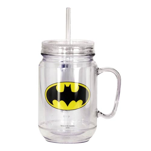 Batman Clear Mason-Style Plastic Jar with Lid and Handle