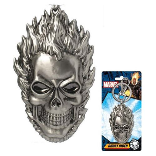 Ghost Rider Head Pewter Key Chain