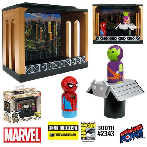 Spider-Man and Green Goblin Pin Mate Wooden Figures with Glider and Stackable Diorama - Convention Exclusive, Not Mint