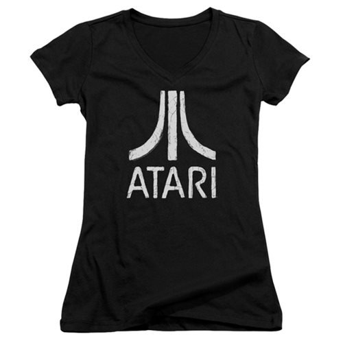 Atari Rough Logo Juniors V-Neck T-Shirt