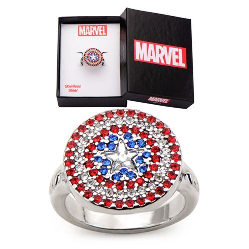 Captain America Shield Stainless Steel Bling Women's Ring