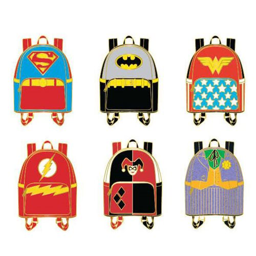 DC Comics Character Mini-Backpacks Random Blind-Box Enamel Pins 12-Piece Display Tray