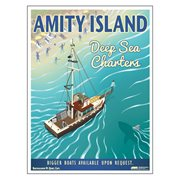 Jaws Amity Island Deep Sea Charters Vintage Travel Lithograph Art Print