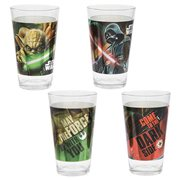 Star Wars Darth Vader and Yoda 16 oz. Laser Decal Glass 2-Pack Set