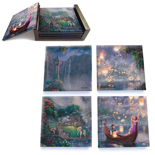 Tangled Thomas Kinkade StarFire Prints Glass Coaster Set