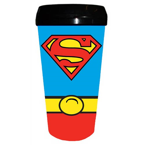 Superman Uniform 16 oz. Plastic Travel Mug