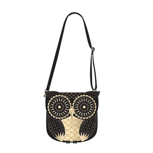 Owl Black and Gold Crossbody Purse