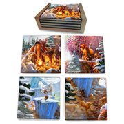 Ice Age Thomas Kinkade StarFire Prints Glass Coaster Set