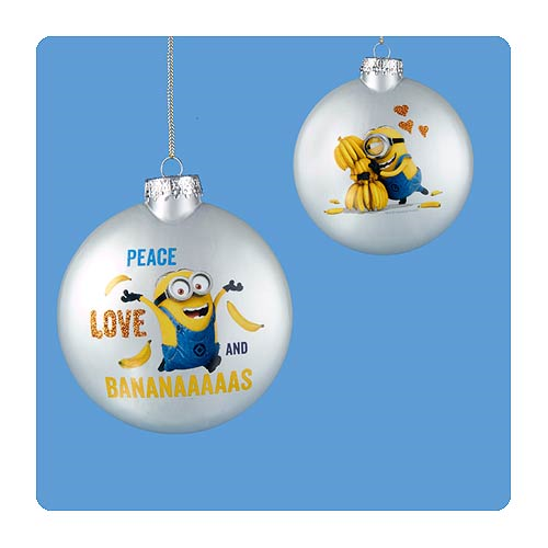 Despicable Me Minion Decal Silver Glass Ball Ornament