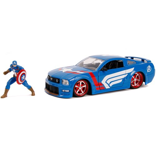 Captain America 2006 Ford Mustang GT 1:24 Scale Die-Cast Metal Vehicle with Figure