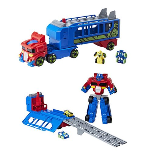Transformers Rescue Bots Flip Racers Optimus Prime Race Track Trailer