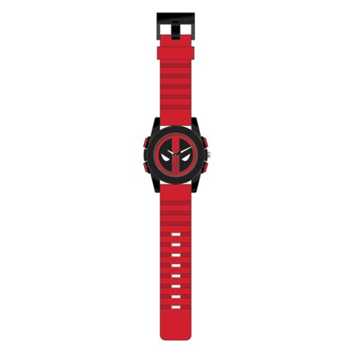 Deadpool Logo Dial Black Sport Case Red Strap Watch