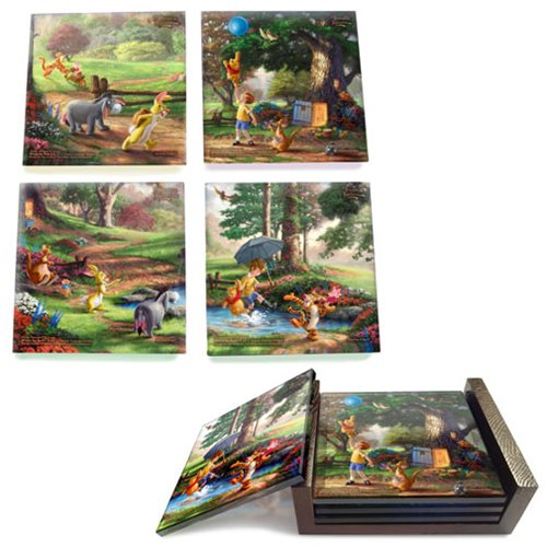 Winnie the Pooh Thomas Kinkade StarFire Prints Glass Coaster Set