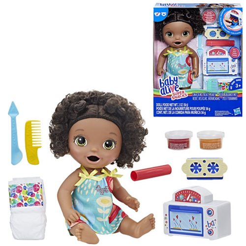 Officially Licensed NEW Baby Alive Snackin/' Treats Baby Black Curly Hair