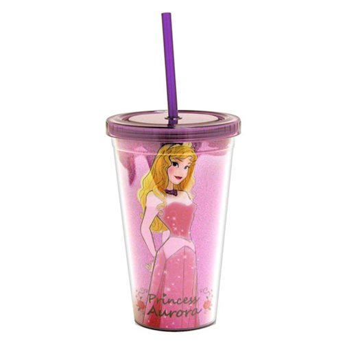 Sleeping Beauty Princess Aurora Glitter Plastic Travel Cup