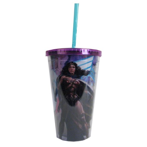 Batman v Superman Dawn of Justice Wonder Woman Standing 16 oz. Travel Cup