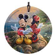 Mickey Mouse and Minnie Mouse Sweetheart Cove Thomas Kinkade StarFire Prints Hanging Glass Ornament