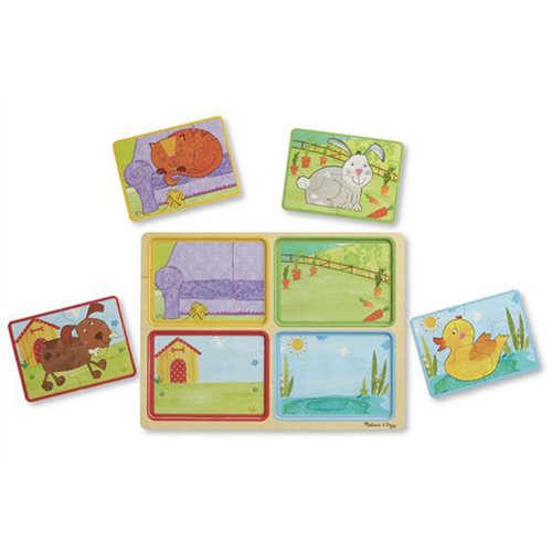 Melissa & Doug Natural Play Playful Pals Wooden 16-Piece Puzzle