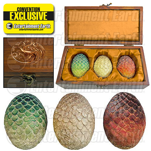 Game of Thrones Dragon Egg Prop Replica Set in Wooden Box with Gold Targaryen Sigil and Gold Satin Lining – EE Exclusive