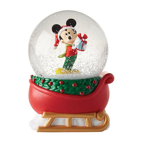 Disney Mickey Mouse on Sleigh Snow Globe