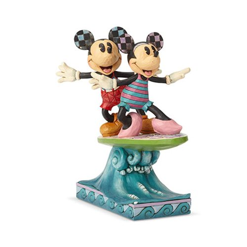 Disney Traditions Minnie Mouse and Mickey Mouse Surfboard Surf's Up Statue by Jim Shore