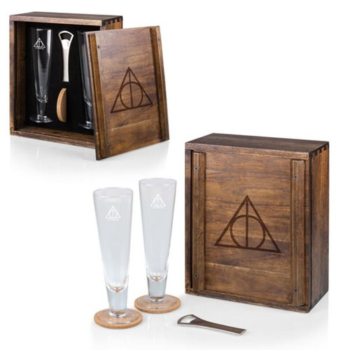Harry Potter Deathly Hallows Acacia Wood Glass Gift Set of 2