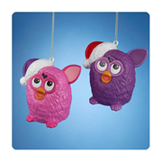 Furby Pink and Purple Figural Blow Mold Ornament Set