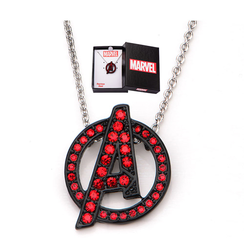 Avengers A Logo Red Bling Gems Necklace