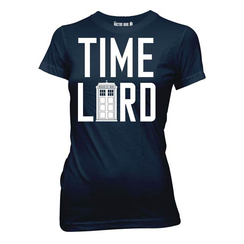 Doctor Who Time Lord With Tardis Blue Juniors T-Shirt